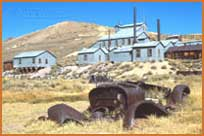 Standard Mill, old car in foreground, Bodie State Historic Park